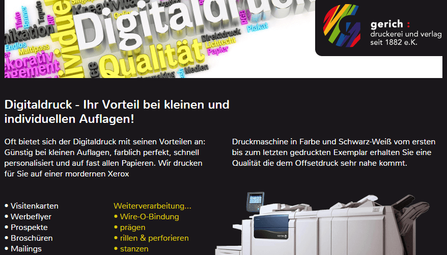 Webentwicklung Gerich-Druckerei