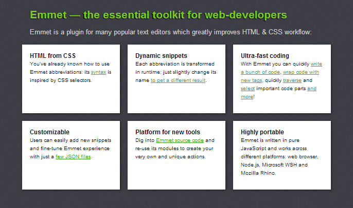 Emmet html css web